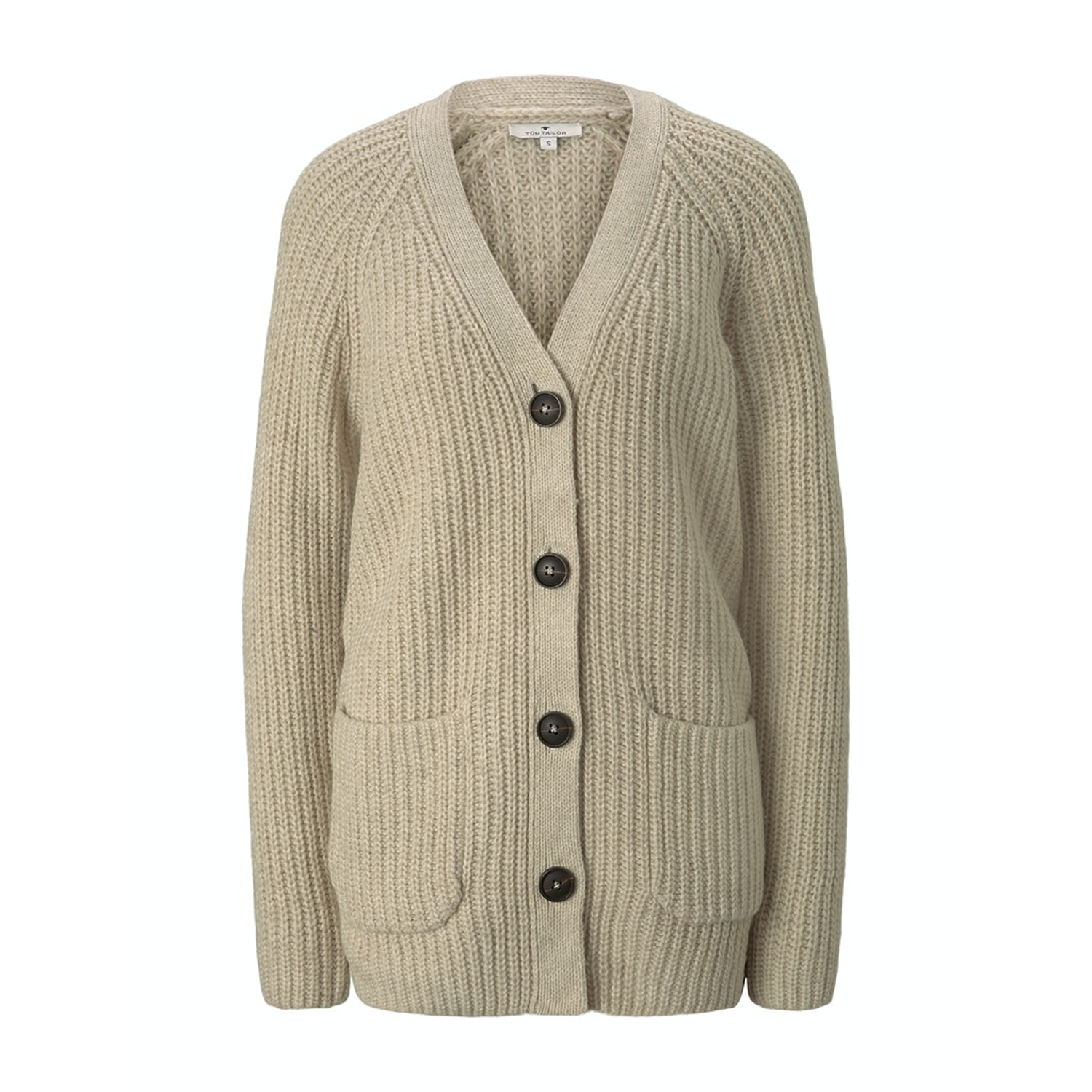 TOM TAILOR Strickjacke Knopfleiste beige