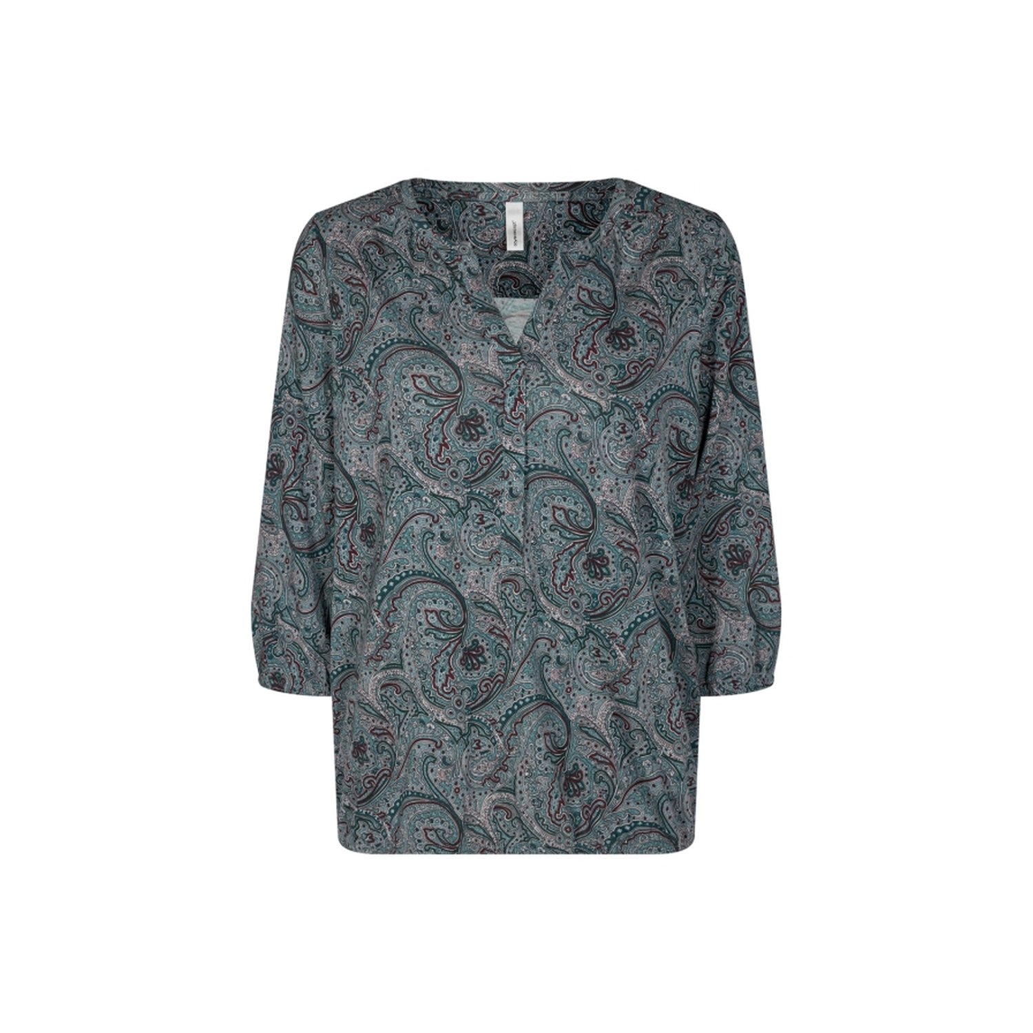 SOYACONCEPT leichte Shirtbluse 3/4 Arm Paisleymuster petrol