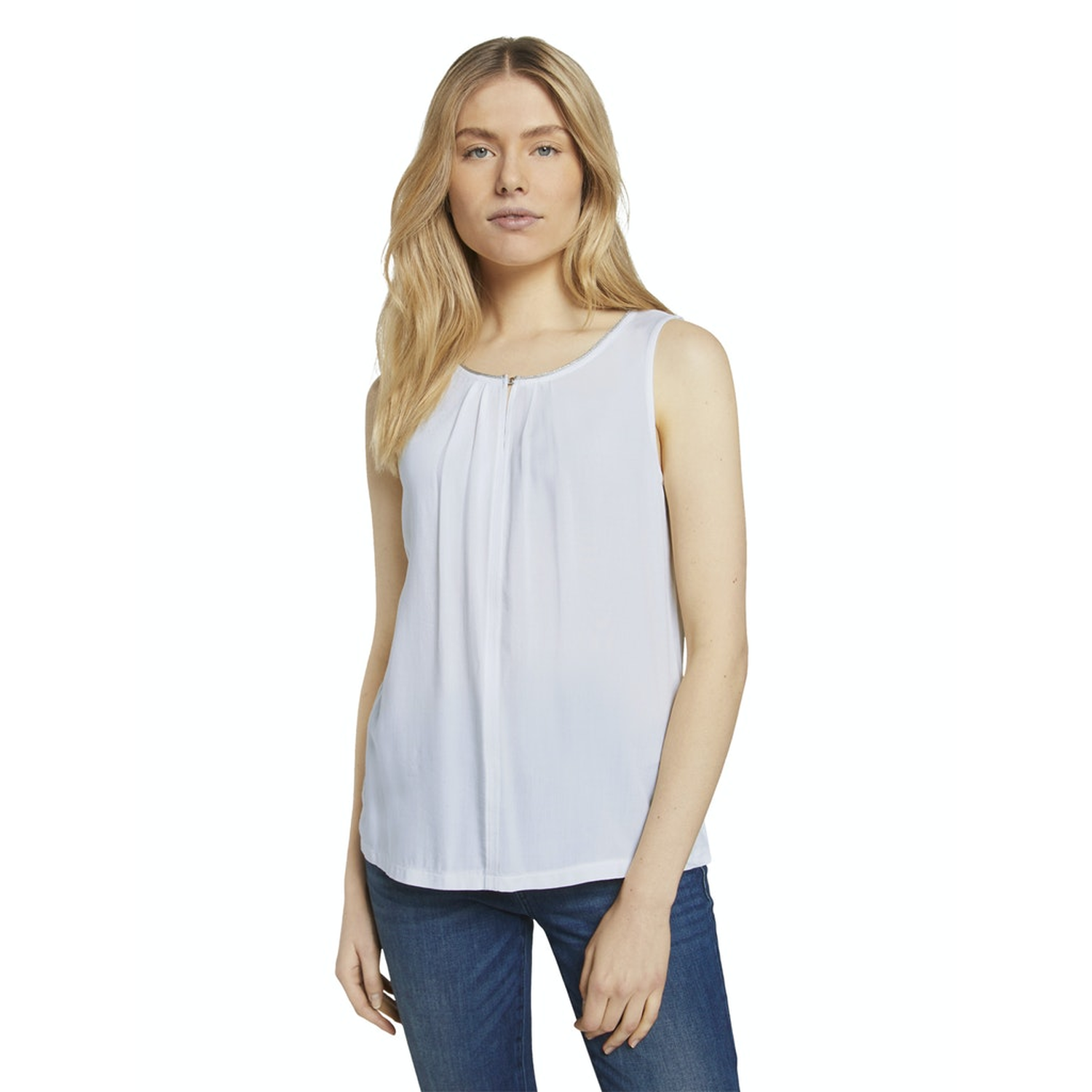 TOM TAILOR Top mit Glitzer Details offwhite